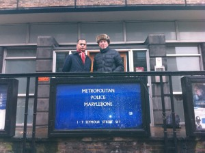 At Marylebone Police station with Jack Gordon